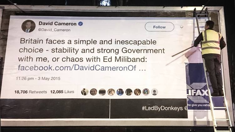 Image of a quote by David Cameron posted to a billboard