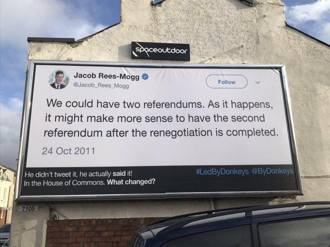 Image of a quote by Jacob Rees-Mogg posted to a billboard