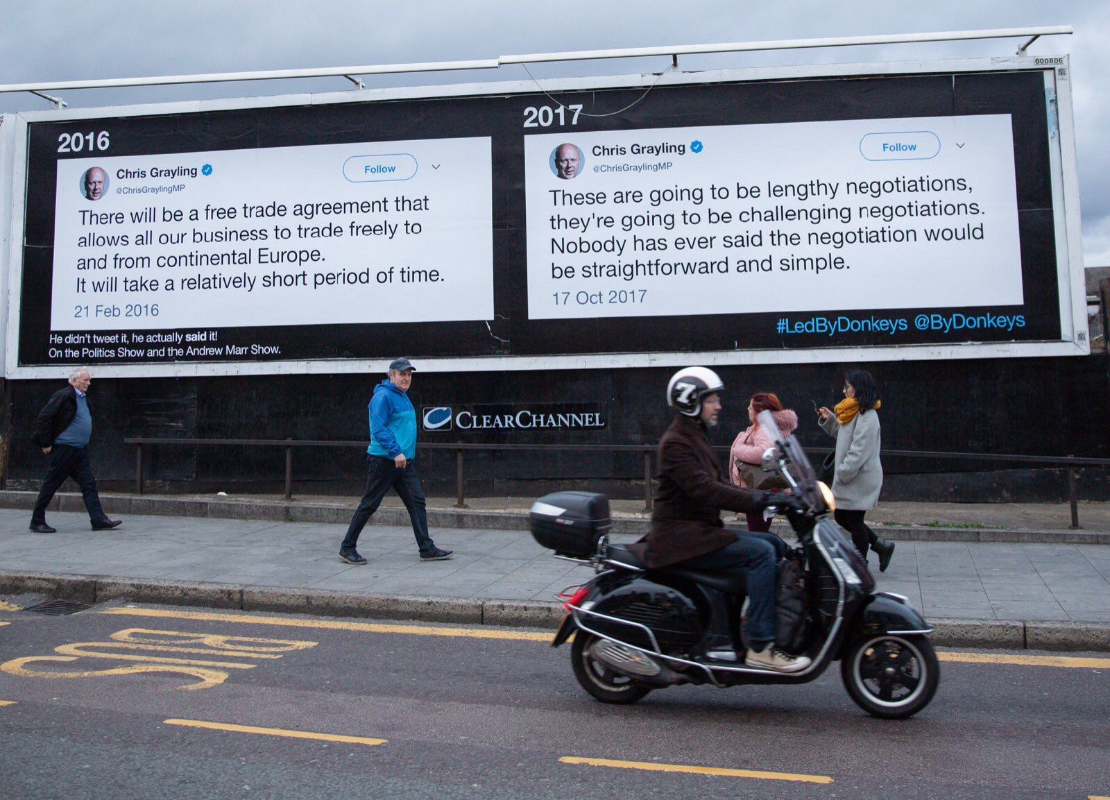 Image of two contradictory quotes by Chris Grayling posted to a billboard