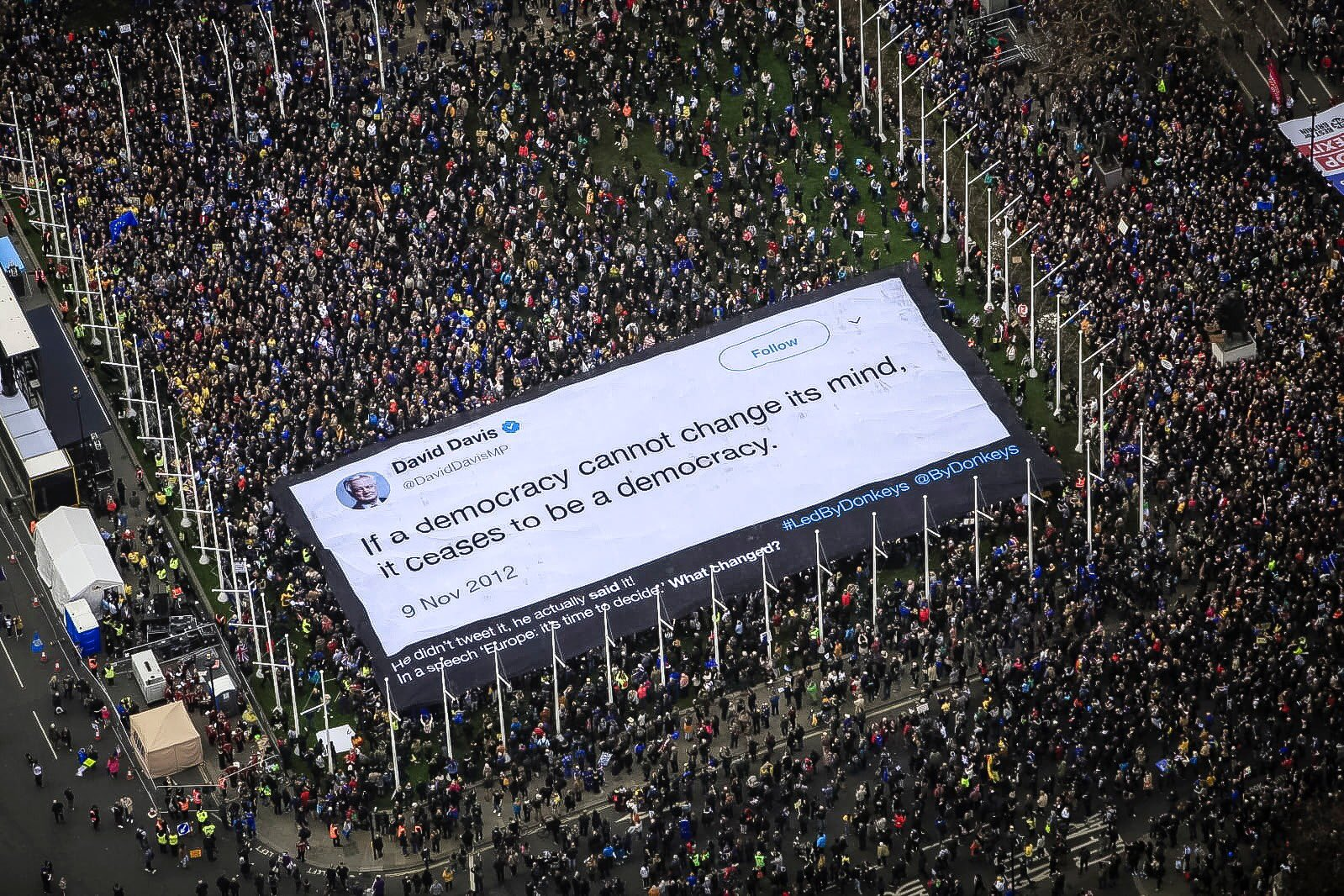 An image of one of Led By Donkeys' billboards at the London People's Vote demonstration, 23 March 2019.