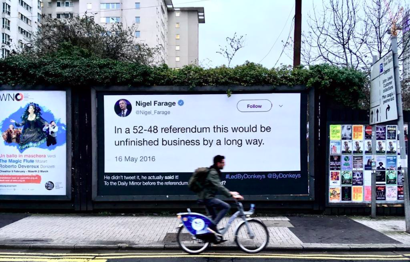 Image of a quote by Nigel Farage posted to a billboard