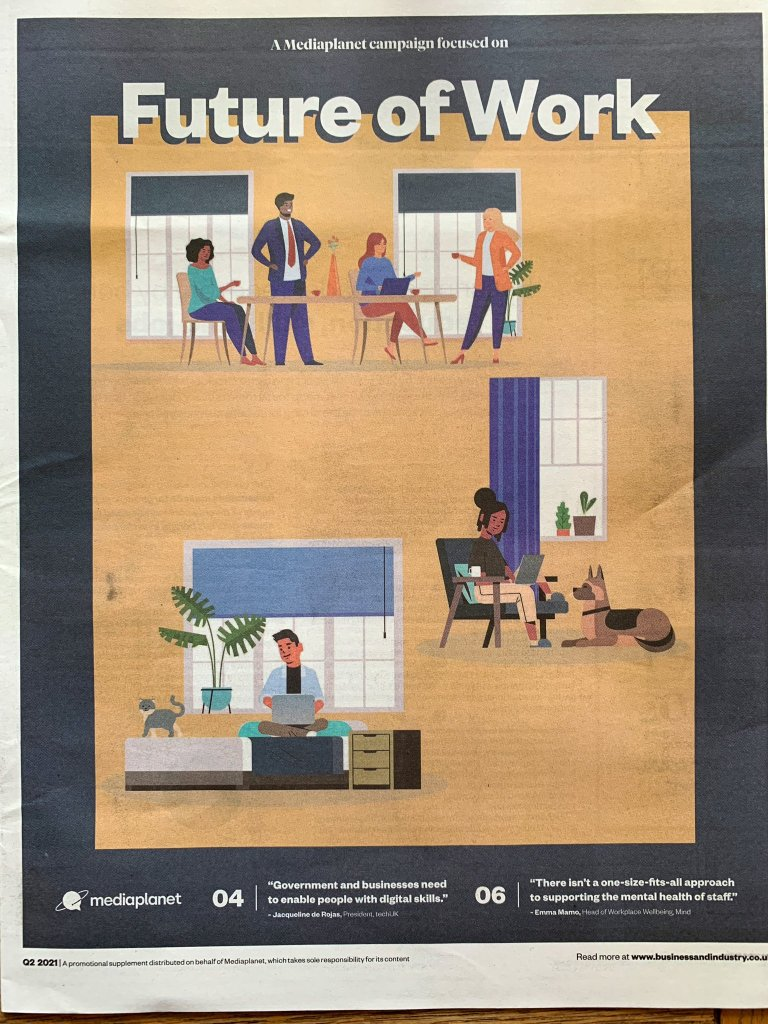 A photograph of a newspaper supplement with three colourful illustrations of people working. One is a group of four people in a meeting around a table, with two people standing and one sitting; one of someone sitting in an armchair using a laptop; and one of someone sitting crosslegged on a bed using a laptop